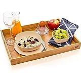 bambuswald© Serviertablett | Betttablett aus 100% Bambus - Tablett mit naturfarbenem Boden & Tragegriffen | Tabletttisch Frühstückstablett Abendessen Tee Bar Tisch Bett