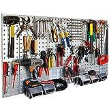 Werkzeugwand 114 x 58 cm 48teilig alles aus Metall Haken und Boxensortiment
