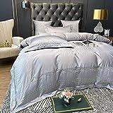 JHGF Seidenbettwäsche Gewaschene Seidenstickerei 4-teiliges Set Uni Baumwollbettwäsche Tencel Bettbezug Satinbettwäsche klein groß extragroßes Textil passend für alle Jahreszeiten