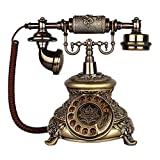WBDZ Schnurgebundene Telefone, Festnetztelefon Wähltelefon Europäischer Klassiker Vintage Home Harz Schnur Telefon Festnetz Metallglocke Dekoration Büro Handwerk