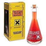 getDigital Wassekaraffe DHMO aus Glas für Nerds & Geeks - Dihydrogenmonoxid Warnlabel Glas Flasche mit Korken - 700 ml