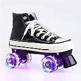 Damen Roller Skates, Parkour Shoes / Skate-Schuhe, Hochkarätige Leinwand-Rollschuhe Für Jugendliche Und Jugendin Innen- Und Außenbereich Doppelreihe Glänzende Speed-Skates, Mädchenschuhe Mit (Size:41)