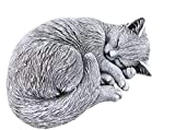 Steinfigur Katze schlafend, eingerollt, frostfest bis -30°C, massiver Steing