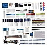 freneci Elektronik Komponenten Fun Kit mit Netzteilmodul, Überbrückungskabel, 400 Verbindungspunkte Steckbrett, Präzisionspotentiometer, Widerstand für, Himbe