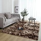 ZQWE Teppiche Wohnzimmer, Hochflor Teppich Wohnzimmerteppich, Hochflor Langflor Teppiche Modern,flauschig Shaggy Schlafzimmer Bettvorleger Pflegeleicht (Brown,150 x 200cm)