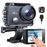 Action Cam 4K/60FPS, Crosstour CT9900 Touchscreen Unterwasserkamera Helmkamera (WiFi Externes Mikrofon Fernbedienung 8XZoom EIS 2X1350mAh Akkus)