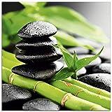 Artland Glasbilder Wandbild Glas Bild einteilig 20x20 cm Quadratisch Asien Wellness Zen Steine Lavasteine Bambus Wassertropfen Entspannung T5WD