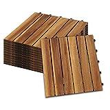 wolketon 30 x 30 cm Akazien-Holz Holzfliesen 11er Set für 1 m² Garten-Fliese Bodenbelag mit Drainage, Klick-Fliesen für Garten Terrasse Balkon (Model B, Größe: 11 Stück | 1m²)