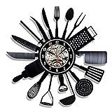 XXSCXXSC Wanduhr Vinyl Schallplatte Wanduhr Modernes Design Dekoratives Küchenmesser und Gabel Küche Hängende Uhren Wanduhr Home Decor S