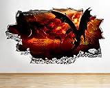 Wandtattoo Poster Tapeten Dragon Wings Fresh Lava Fire 3D Vinyl Kids Room Sticker-50x70cm