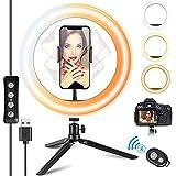 DIWUER LED Ringlicht, Ringlicht mit Stativ/Fernbedienung/Handyhalterung 3 Beleuchtungsmodi und 10 Helligkeitsstufen, Ringleuchte Für Live Vlog Make-up Tiktok YouTube Kompatibel mit iPhone/Android
