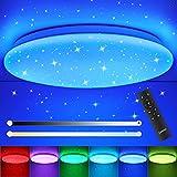 LED Deckenleuchte Dimmbar mit Fernbedienung, OPPEARL 18W RGB LED Deckenlampe mit Sternenhimmel, Farbe und Helligkeit Einstellbar, für Kinderzimmer Wohnzimmer Schlafzimmer Esszimmer Küche, 2700K-6500K