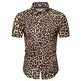 XPDD Herren Slim Print Beach Kurzarmhemd Dünnes Freizeithemd Mit Muster Kurzarmhemd Herrenhemd Hemd mit Button-Down-Kragen Kurzarmhemd mit Muster Blumenhemd Hawaiihemd