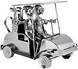 BRUBAKER Schraubenmännchen Golfcart - Handarbeit Eisenfigur Metallmännchen Golf - 24 cm Metallfigur Geschenkidee für Golfspieler und Golf Fans