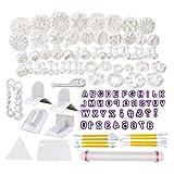 LTOOTA 114-Teiliges Fondant Ausstecher Set Ausstechformen Für Buchstaben Zahlen Rose Blume Formen Set Fondant Werkzeuge Auswerfer Stempel Modellierwerkzeug Für Torten Deko