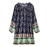 VEMOW Damen Sommer Herbst Elegante Plus Größe Dot Print Lose Baumwolle Casual Täglichen Party Strandurlaub Kurzarm Shirt Vintage Bluse Pulli(X8-Blau, EU-36/CN-S)