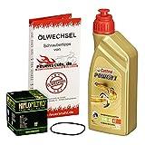Castrol 10W-40 Öl + HiFlo Ölfilter für Yamaha WR 125 R/X, 09-15, DE07 - Ölwechselset inkl. Motoröl, Filter, Dichtring