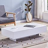 GOLDFAN Couchtisch Weiß Hochglanz Moderne Quadratisch Tisch Sofatisch Beistelltisch für Wohnzimmer Büro