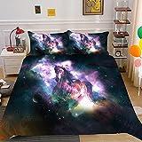 KIrSv Starry Sky Animal 3D-Druckmuster Bettbezug Kissenbezug, geeignet für EIN Doppelbett mit Kingsize-Bett, die Beste Bettwäsche für männliche und weibliche Freunde - 7_200x229 cm (3 Stück)