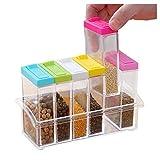Transparente Kunststoff-Gewürzdosen-Set, 6 Stück, Gewürzdosen für Salz, Zucker und Pfeffer