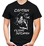 Captain of The Flying Dutchman Männer und Herren T-Shirt   Spruch Vintage Pirat Geschenk (XXXL, Schwarz)