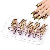 Ealicere 5 Nagelschablonen Schablonen Formen wiederverwendbare, Nail Art Erweiterung Form für Nagel Kunst Maniküre DIY (Gold)