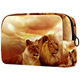 KAMEARI Kosmetiktasche Afrika Safari Löwe Paar Landschaft Steppe Große Kosmetiktasche Organizer Multifunktionale Reisetasche