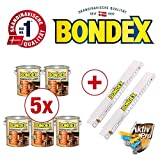Bondex BigPack XXL 5x Dauerschutz-Lasur Nussbaum 4,00l 329922 + 2 x Bondex Zollstock