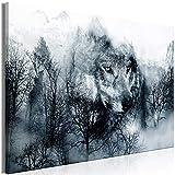 murando - Bilder Wolf 120x80 cm Vlies Leinwandbild 1 TLG Kunstdruck modern Wandbilder XXL Wanddekoration Design Wand Bild - Berge Landschaft blau schwarz weiß g-A-0140-b-b
