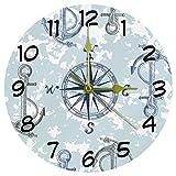 Eslifey Wanduhr, nautischer Kompass, Anker, rahmenlos, nicht tickend, Dekoration, runde Acryl-Wanduhr