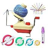 Ayasee Garnballwickler, handbetätigte Swift Yarn Fiber String Ball Wollwickelmaschinen für Familien + 4Pompom Maker + 10PS Strickstichmarker + 10PS Plastiknadeln + 1PS Schere (26b)