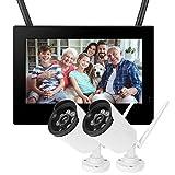 LXYPLM Überwachungskamera HD Kamera 10in Outdoor-Überwachungskamera 1,3MP HD Drahtloser WiFi-Baby-Monitor 2-Kameras Intelligentes DVR-Heimsicherheitssystem US 110-240V