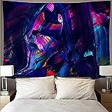 Geheimnisvolle bunt bemalte Wandtuch große Kunst Tapisserie psychedelische Wandbehang Strandtuch Decke hängen Stoff A3 150x200cm