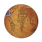 USA Map Mouse Pad für Computer, alte politische Weltkarte mit amerikanischem Plan Geographie Nation Land Retro Print, rundRutschfestes, modernes Gaming-Mousepad aus dickem Gummi, 8 'rund, mehrfarbig