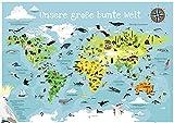 Close Up Kinder Weltkarte XXL Poster - Unsere große Bunte Welt 140 x 100 cm - handgezeichnete und kolorierte Panorama Kinderweltkarte