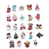 Heall 24 Stück Mini Weihnachten Anhänger Farbige Anhänger für DIY Schmuck, Halsketten, Armbänder, Ohrringe, Gartendekoration