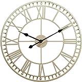 Große Vintage Metall Wanduhr Gartenuhr Im Freien Wetterfest Römische Ziffernuhr Hängende Uhr Eisenskelett Moderne Inneneinrichtung,16inch
