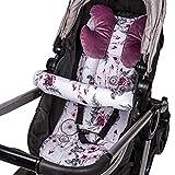 Sitzauflage Kinderwagen Einlage - Buggy Auflage Sitzeinlage für Kindersitz atmungsaktiv universal Set mit Kopfstütze Gürtelschutz 75x35 cm (Rosa – Traumfänger)