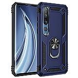 Schutzhülle für Xiaomi Mi 10 5G Handy, doppelte Schicht, Silikon, Bumper Case mit 360 Grad Rotary Ring Halter Schutzhülle Armor Cover [Verstärkter Sturzschutz] (Blau)
