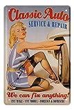 Pin Up Blechschild - Retro Deko Metallschild - 40er 50er 60er Jahre Sexy Vintage Pin Up Girl Schild - Wanddeko Werkstatt Garage American Diner Partyraum - Geschenkidee für Rockabilly Fans - 20x30cm