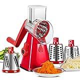 ZWWZ 3 in 1 Gemüsereibe - Handheld Käsespiralisierer Spiralschneider Handschneider mit 3 scharfen Edelstahlklingen