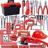 BALALALA Werkzeugkoffer, Kinder Werkzeug Set Spielwerkzeug Rollenspielwerkzeug, Kit-Spielset, elektrischem Spielzeugbohrer, Helm und Zubehör für Bauwerkzeuge