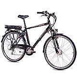 CHRISSON 28 Zoll E-Bike Trekking und City Bike für Herren - E-Gent schwarz mit 8 Gang Acera Kettenschaltung - Pedelec Herren mit Ananda Vorderradmotor 250W, 36V