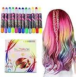 Buluri Haarkreide 12 Farbe Haare Kreide Stifte Temporäre Haarfarbe für Mädchen, Perfektes Geschenk für Karneval, Weihnachten Geburtstag
