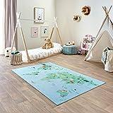 Carpet Studio Teppich Kinderzimmer 120x195cm, Spielteppich Jungen & Mädchen für Schlafzimmer & Spielzimmer, Antirutsch, 30°C waschbar - Weltkarte