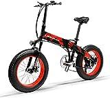 LANKELEISI X2000 50,8 cm (20 Zoll) Fat Bike Faltbares E-Bike 7 Gang Schneefahrrad 48 V 12,8 Ah 1000 W Motor Aluminiumlegierung Rahmen 5 PAS Mountainbike (rot)