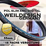 Polfilter POL 55mm Circular Slim XMC Digital Weil Design Germany * Kräftigere Farben * Frontgewinde * 16 Fach XMC vergütet * inkl. Filterbox (POL Filter 55MM)