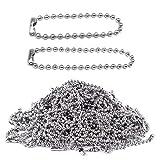 Nsiwem Kugelkette Edelstahl 200 Stück Edelstahlkette 2,4 mm Stahlkette Eisenkugel Ketten Etikett Kette Schlüsselanhänger mit Anschlüssen für DIY Schmuck Basteln 10cm/15cm Silb