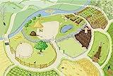 Le Toy Van – Bauernhof & Tiere Spielteppich mit 3D-Design Pädagogischer Spielteppich für Mädchen & Jungen | Größe: 120 x 80