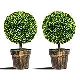 COSTWAY 2er Set Künstlicher Buchsbaum Kunstpflanze Kunstbaum Dekopflanze Zimmerpflanze mit Blumentopf für Zuhause und Büro als Deko 55cm hoch, grün